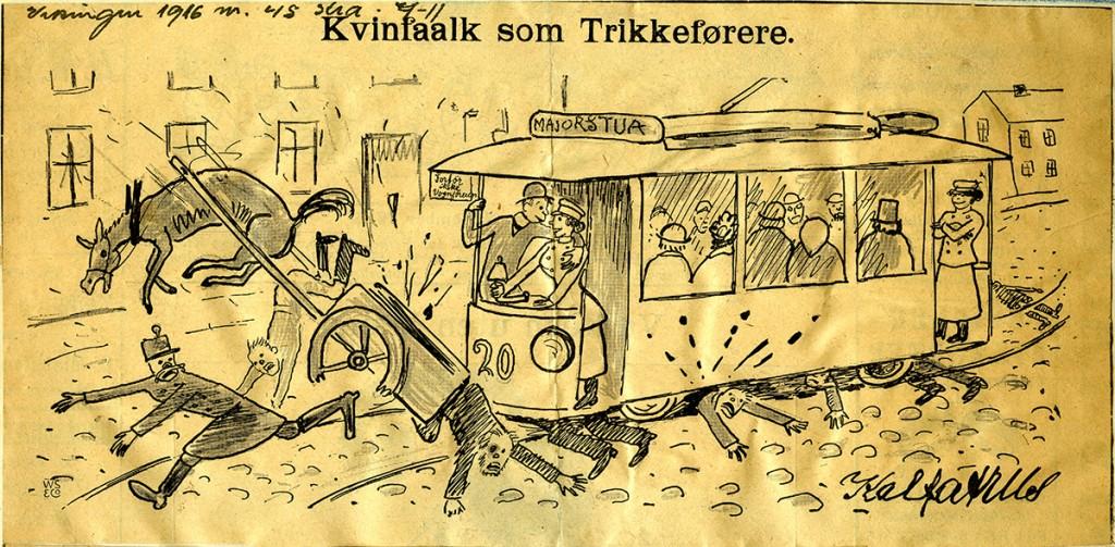 Tegning fra Norske Intelligenssedler, 1917. Avisutklippsbøker fra arkivet etter A/S Bærumsbanen, 1913-1916 og 1916-1917.
