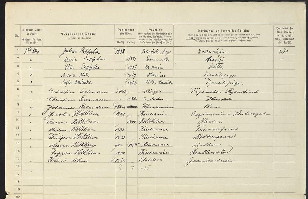 Personliste fra folketellingen i 1899 som viser beboerne i stortingsbygningen, Karl Johans gate 22.