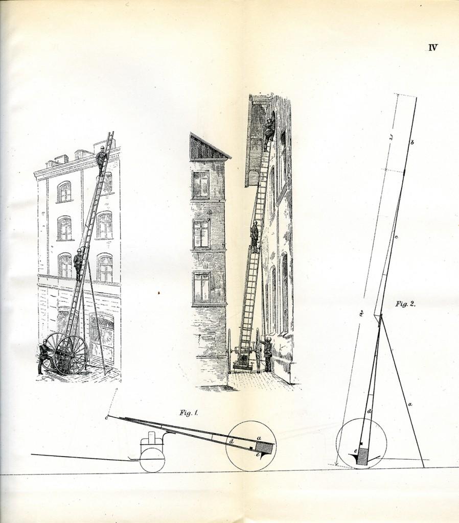 Tegning av redningsstige, produsert i München. Fra Aktstykker Kristiania kommune, dok. 32/1887.