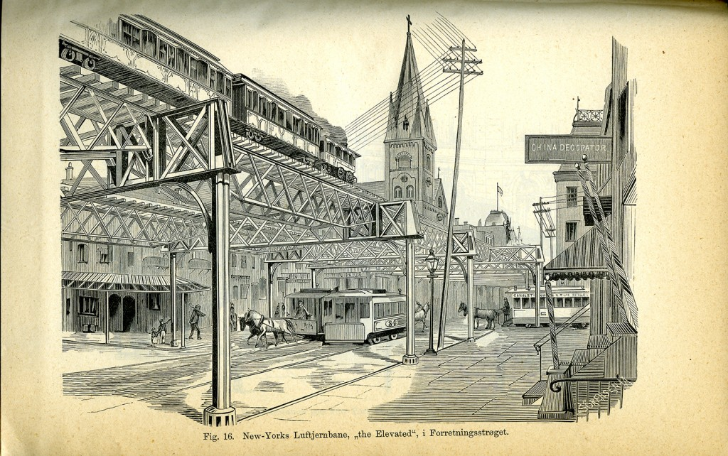 Reiseberetningene er rikt illustrerte. Her fra stadsingeniør Andersen og ingeniør Owrens reise til New York i 1885, hvor de blant annet kunne beskue byens kjente oppbyggede sporveisbane, the Elevated.