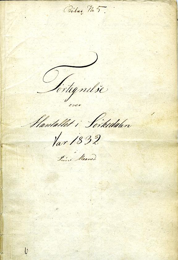 Forside til manntallslistene for Sørkedalen i Akermanntallet for 1832.
