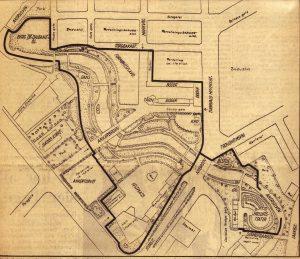 Planer for Hovedøya. Slik tenkte planleggerne seg Hovedøya som folkepark på 1950-tallet.Klosterruinene i vest skulle ligge uberørt, men på østsiden av øya skulle det reises et gedigent anlegg som skulle kombinere det bese fra det københavnske tivoli og de svenske folkeparkene. Klikk for å se et større bilde.