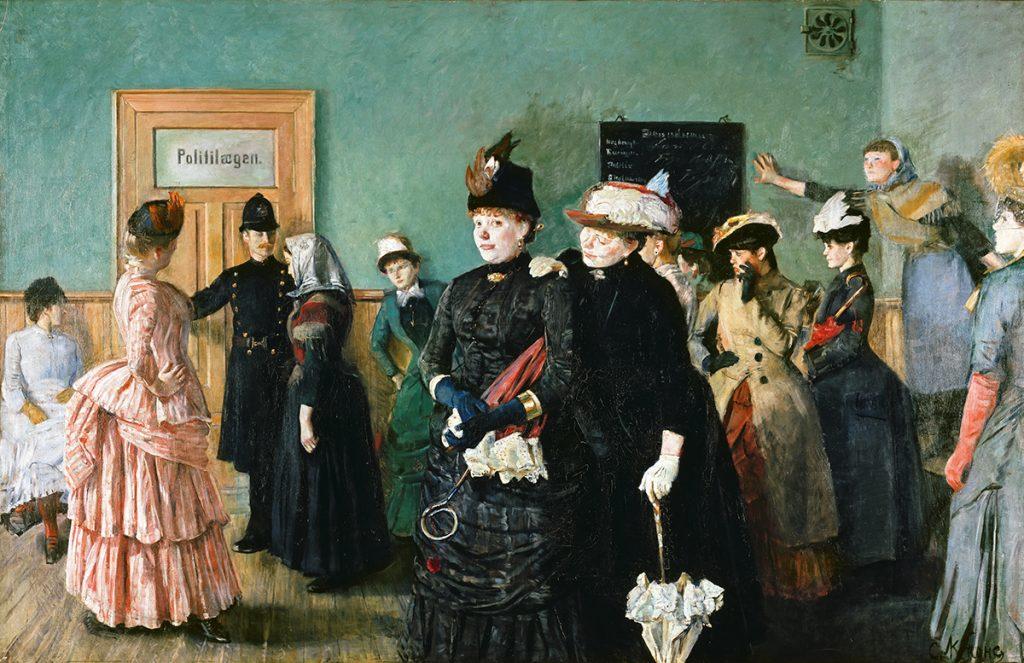 Albertine i politilegens venteværelse. Christian Krohgs kjente bilde fra 1885-1887. Nasjonalbiblioteket/Lathion, Jacques