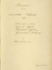 Forsiden til smitteprotokoll ført fra 1888. Fra arkivet etter Helserådet.