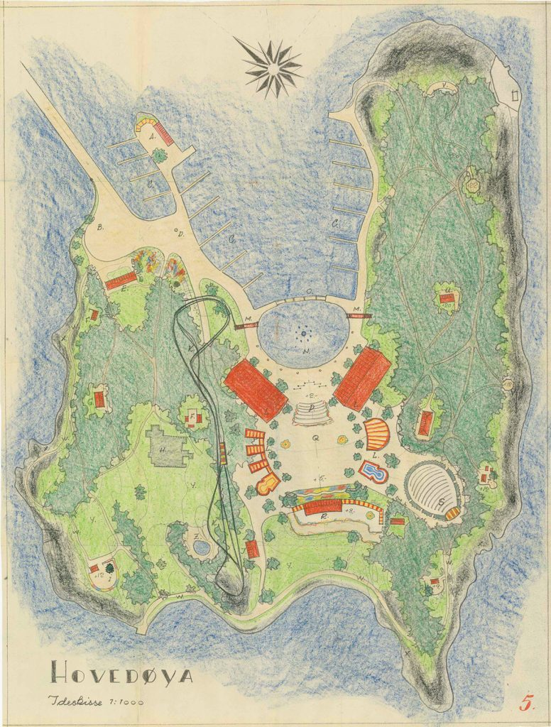 Idéskisse for folkepark på Hovedøya, fra arkivet etter Park- og idrettsvesenet (A-20145/D/De