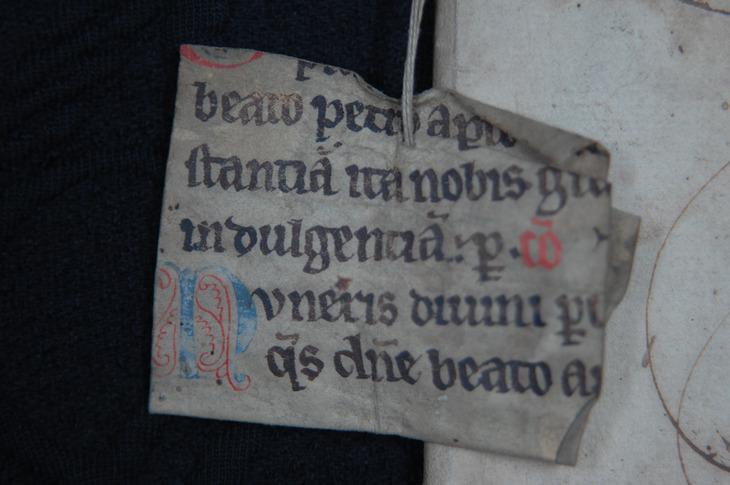 Manuskriptfragmentet fra jordebok i Oslo Hospitals arkiv. Foto: Kirsti Gulowsen, Oslo byarkiv.