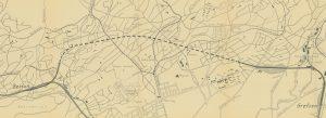 Her kan en se hvor den planlagte banetraseen ville ha krysset Voldsløkka. Bildet viser et utsnitt av oversiktskart over alt. linje for Grefsen-Bestumbanen, 1941, rev. 1946. Reguleringssjefen/Oslo byarkiv.