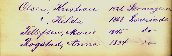 Faksimile fra Det kommunale Mandtal for Kristiania 1901. Jacobs Kreds, magistratens arkiv.