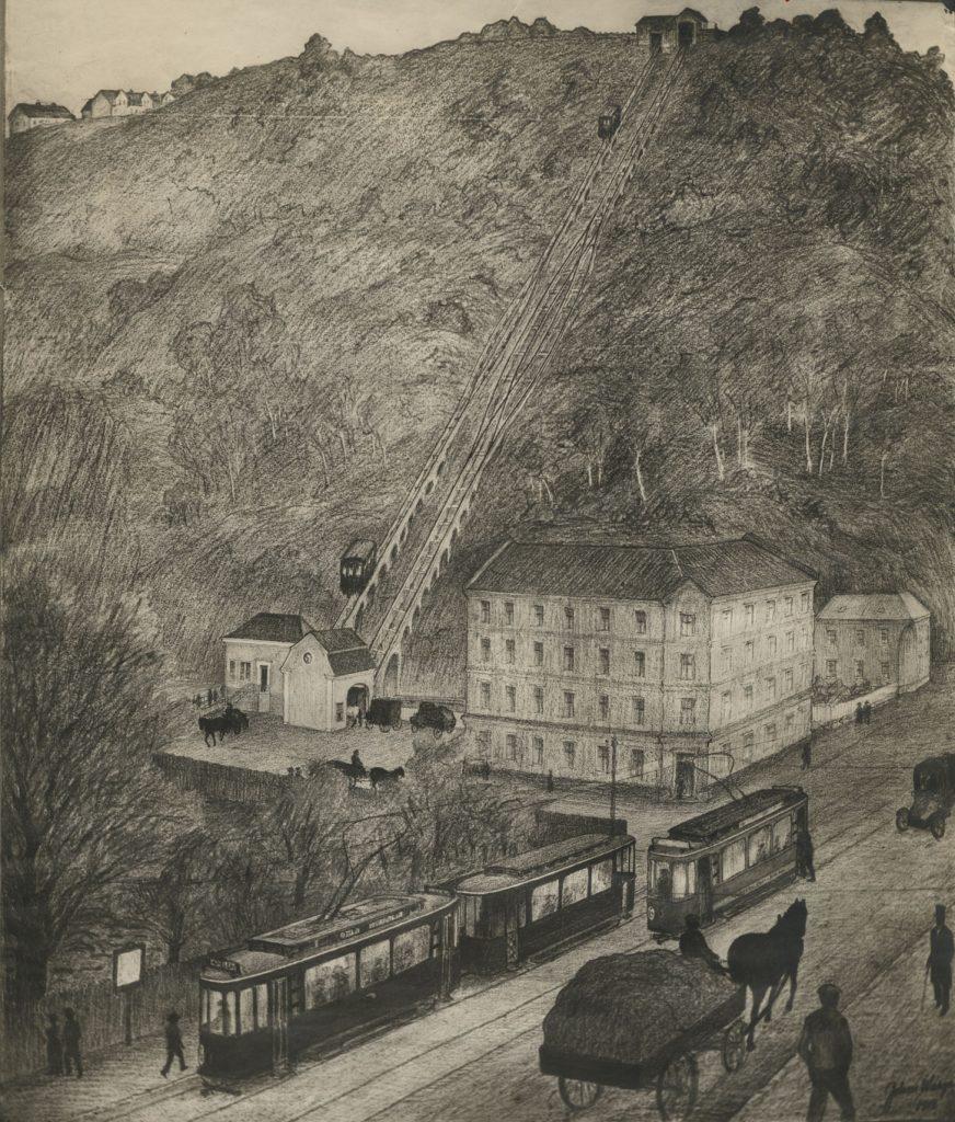 Skisse av kabelbanen til Ekeberg