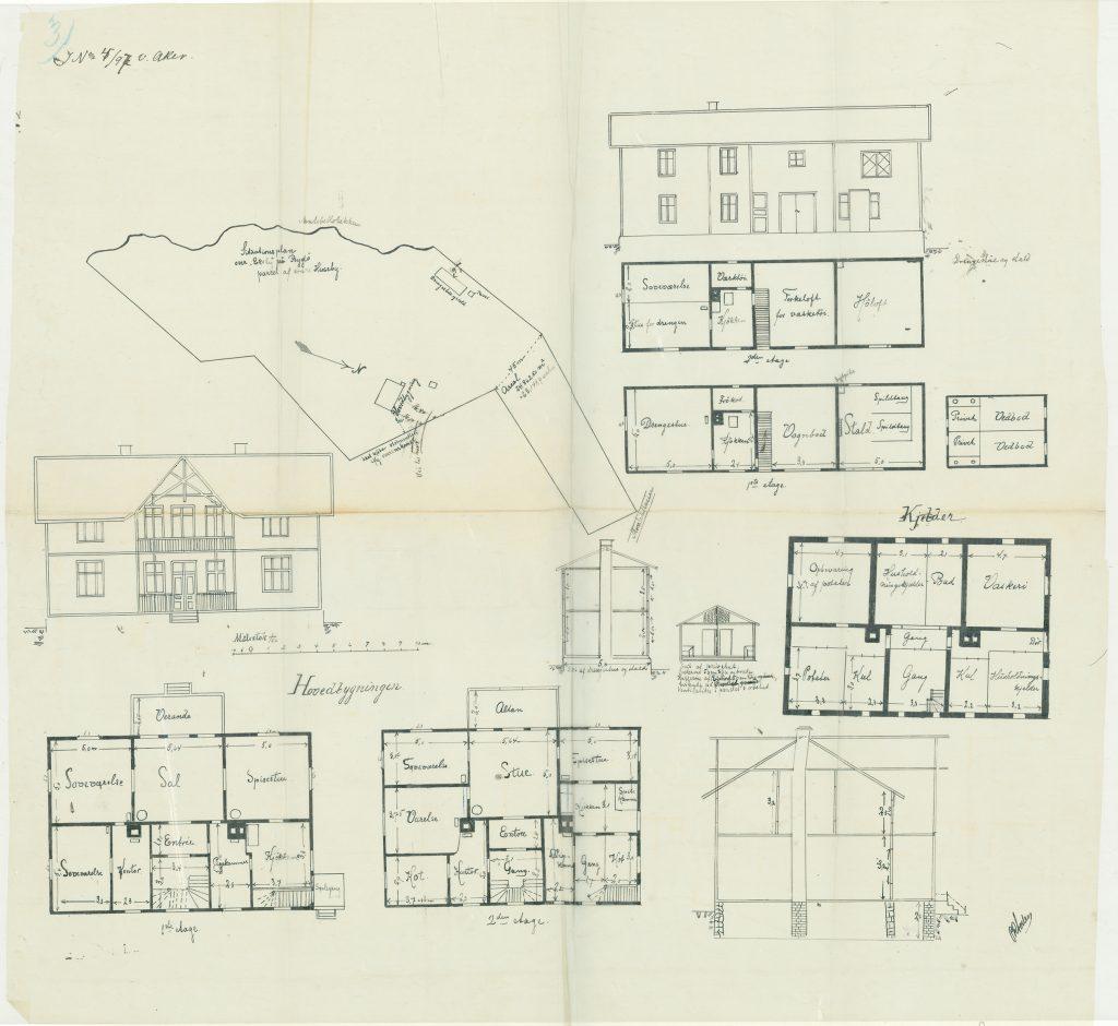 Tegninger og situasjonskart til byggesaken for Ekely i 1897. Fra arkivet etter Plan- og bygningsetaten..