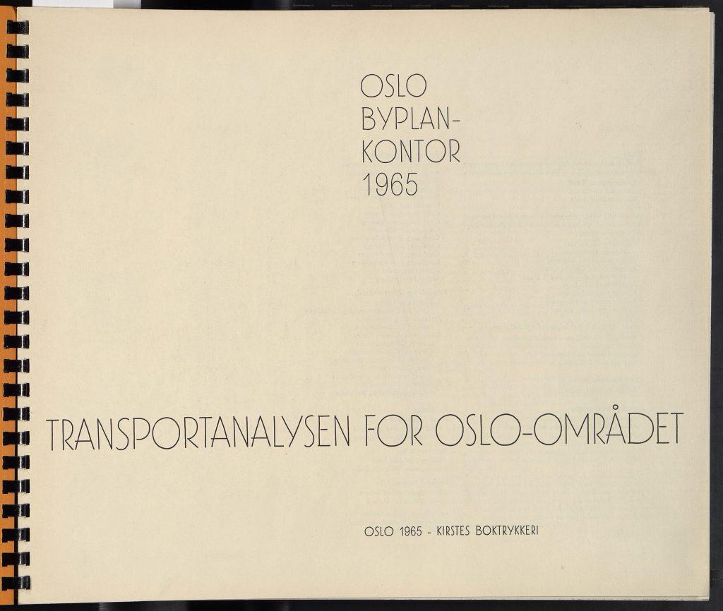 Forsiden til Transportanalysen for Oslo-området