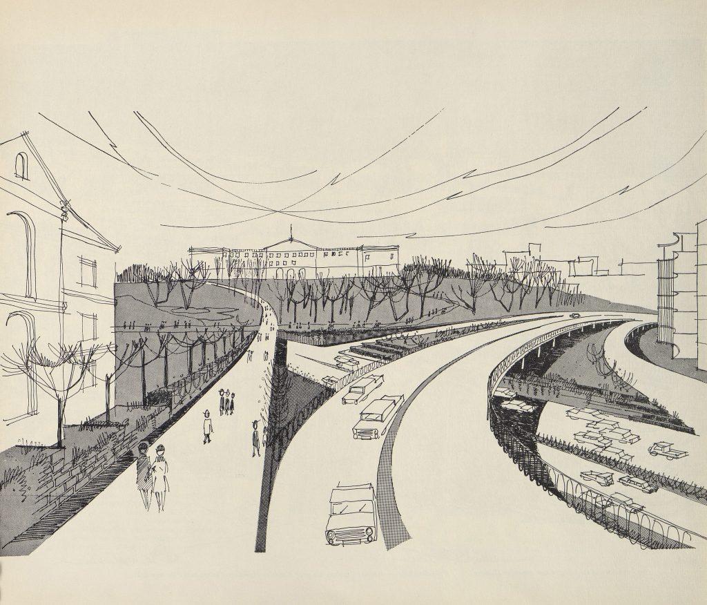 Skisse av hordan de skulle se ut etter motorveien var ferdig bygget gjennom Slottsparken.