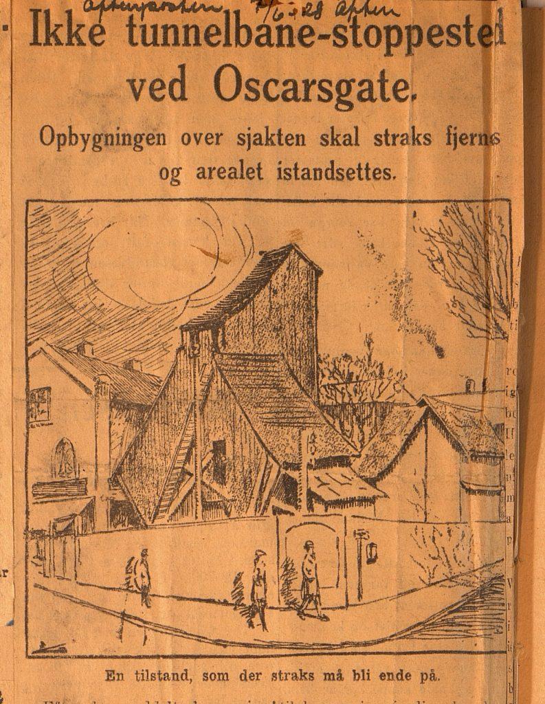 Avisutklipp om stoppested i Oscarsgate