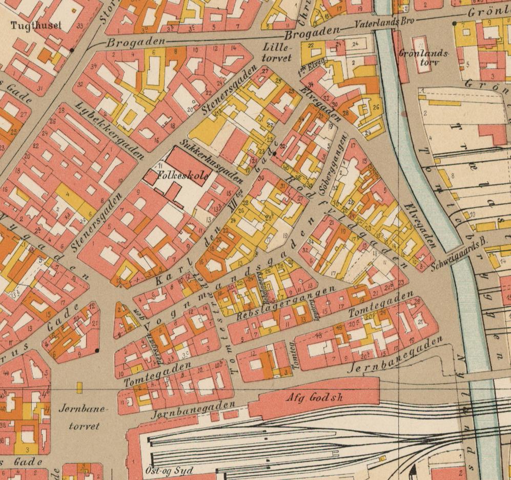 Utsnitt av kart fra 1900. Kristiania oppmålingsvesen, Oslo byarkiv