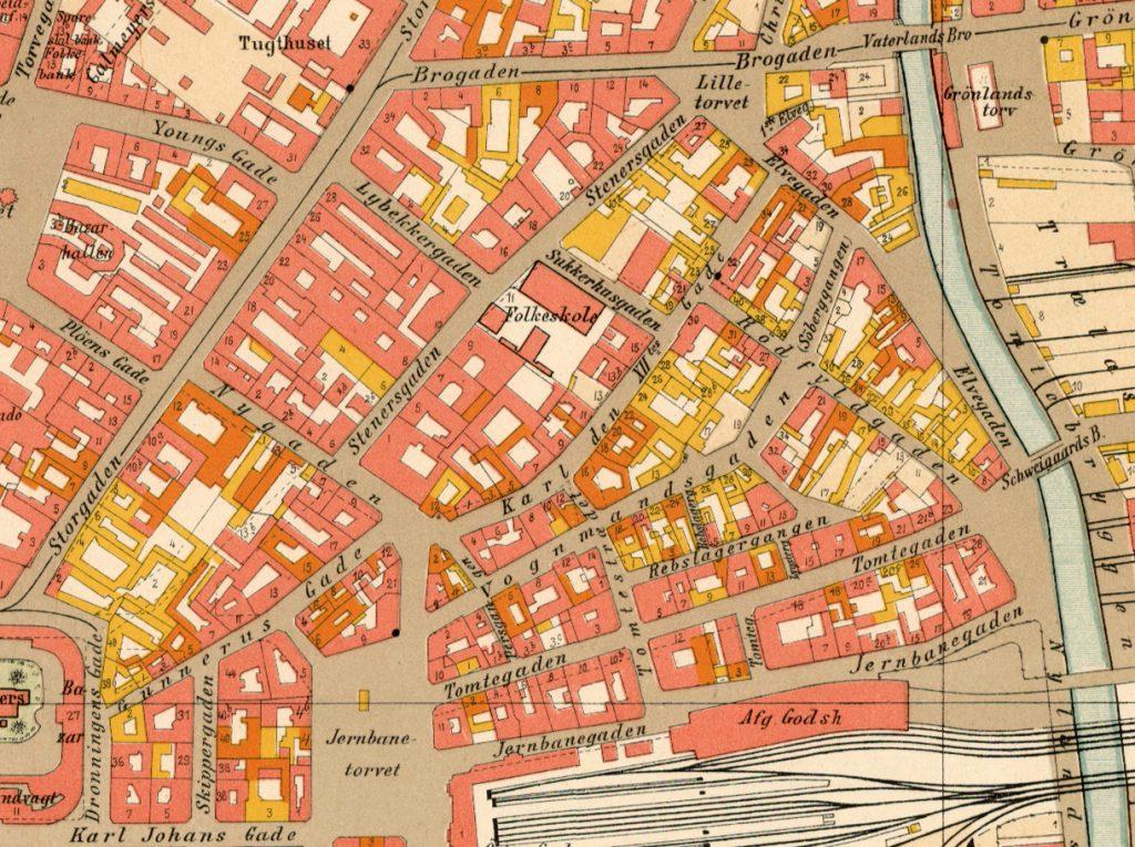 Utsnitt av kart over Kristiania, år 1900. Utarbeidet av Kristiania oppmålingsvesen.