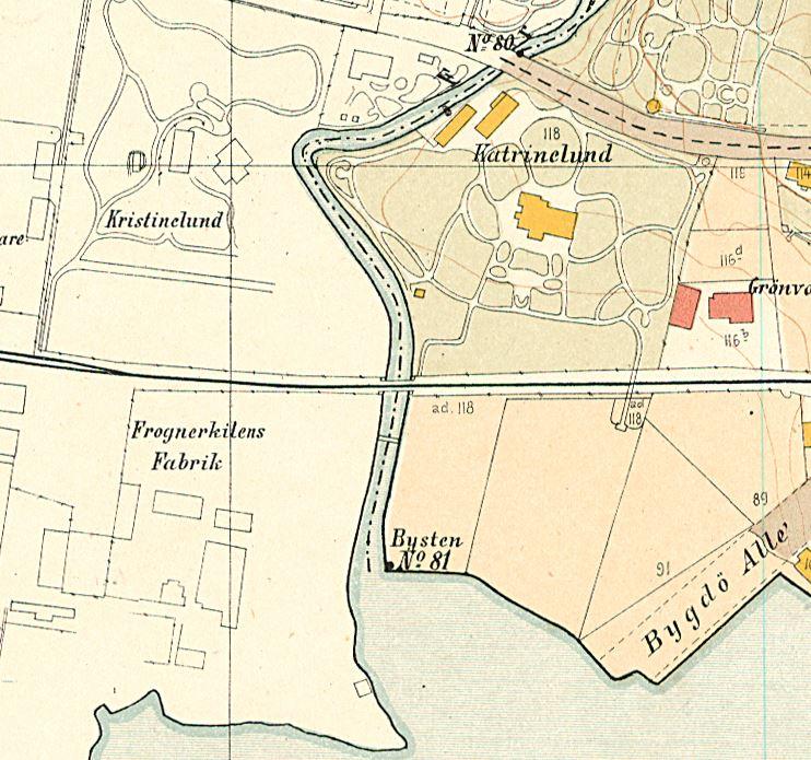 Utsnitt fra kart fra 1900, Kristiania oppmålingsvesen, som viser grensen mot Aker i sørvest fra 1878. Grensen var markert med 81 grensesteiner. Noen få dem finnes fortsatt.