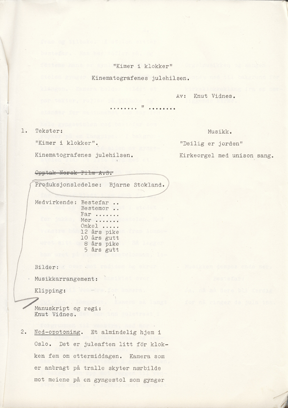 Forsiden av manuset til Kimer i klokker, 1951. Regi: Knut Vidnes.