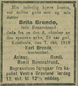 En av mange unge mennesker i dødsannonsene fra Tidens Tegn 11. okotber 1918.