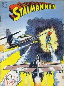 Supermann ble utgitt i Norge fra 1952, under navnet Stålmannen. Illustrasjon fra Tegneseriearkivet/Tegneseriemuseet i Norge, gjengitt med tillatelse.