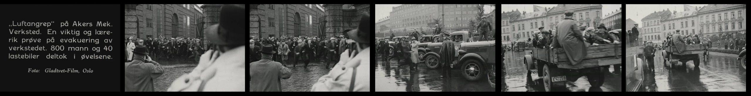 Stillbilder fra innslag om luftvernøvelse på Akers mek. verksted i 1938. Gladtvedt Film, 1938.